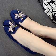 Women's Suede Flat Heel Flats Pumps With Rhinestone shoes (086111290)