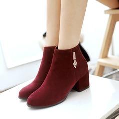 Женщины Замша Устойчивый каблук Ботинки Полусапоги с Застежка-молния Другие обувь (088109562)