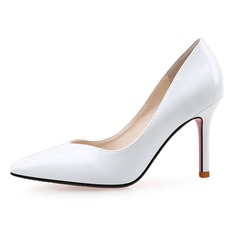 Femmes Cuir verni Talon stiletto Escarpins Bout fermé chaussures (085090439)