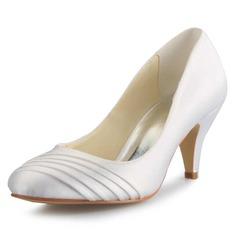 Женщины Атлас Высокий тонкий каблук Закрытый мыс На каблуках (047056188)