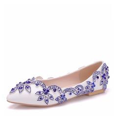 Femmes Similicuir Talon plat Bout fermé Chaussures plates avec Cristal (047166112)