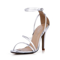 Women's Leatherette Stiletto Heel Sandals Pumps Peep Toe With Buckle shoes (087042777)