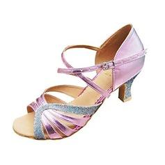 Женщины Атлас На каблуках Сандалии На каблуках Латино с Ремешок на щиколотке В дырочку блестками Обувь для танцев (053102779)