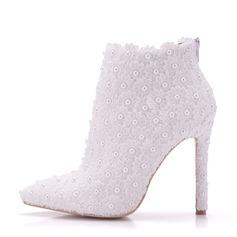Женщины кожа Высокий тонкий каблук Ботинки На каблуках с Имитация Перл (047149244)