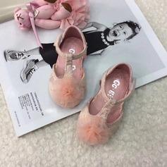 Ребенка Круглый носок Балетная квартира шнурок Плоский каблук На плокой подошве Обувь для девочек с На липучке Цветок (207157198)