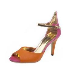 Женщины кожа Высокий тонкий каблук Сандалии с пряжка обувь (087050205)