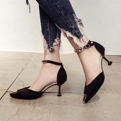 Женщины Замша Высокий тонкий каблук На каблуках Закрытый мыс с пряжка обувь (085150508)