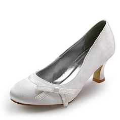 Women's Satin Spool Heel Closed Toe Pumps With Bowknot (047006976)