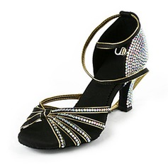 Women's Satin Heels Latin With Rhinestone Ankle Strap Dance Shoes (053018502)