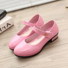 Jentas Round Toe Lukket Tå Leather flat Heel Flate sko Flower Girl Shoes med Velcro (207167110)