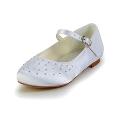 Kids' Satin Flat Heel Closed Toe Flats With Buckle Rhinestone (047031812)