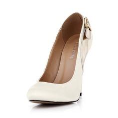 Couro como o cetim de seda Salto agulha Bombas Fechados com Fivela sapatos (085042628)
