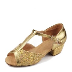 Women's Leatherette Sparkling Glitter Sandals Latin With Ankle Strap Dance Shoes (053146266)