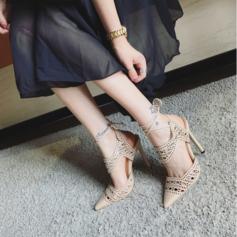 Femmes PU Talon stiletto Sandales Escarpins avec Dentelle Ouvertes chaussures (087132532)