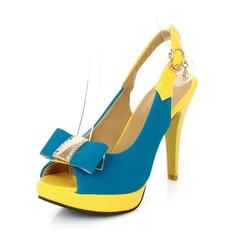 Konstläder Stilettklack Sandaler Pumps med Fören Spänne skor (087049009)