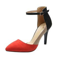 Замша Высокий тонкий каблук Сандалии Закрытый мыс с пряжка обувь (087059844)