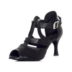 Женщины Натуральня кожа На каблуках Сандалии Латино с пряжка Обувь для танцев (053046426)