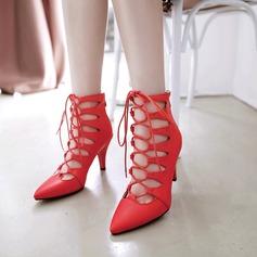 Femmes PU Talon stiletto Escarpins Bout fermé avec Zip Dentelle chaussures (087130816)