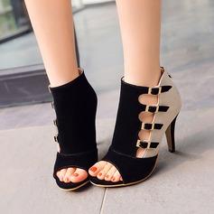 Женщины кожа Высокий тонкий каблук Сандалии с пряжка В дырочку обувь (088114629)