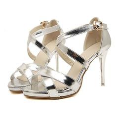Konstläder Stilettklack Sandaler Peep Toe med Spänne skor (087051348)