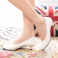 Женщины кожа Низкий каблук Закрытый мыс обувь (085150509)