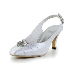 Kvinnor siden som satin Cone Heel Stängt Toe Pumps Slingbacks med Buckle Strass (047028552)