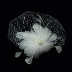 Gorgeous Imitation Pearls/Feather/Tulle Fascinators (042038369)