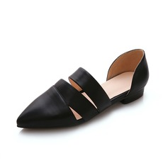 Leatherette Flat Heel Flats Closed Toe shoes (086062737)