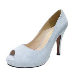 Donna Camoscio Tacco a spillo Stiletto Punta aperta scarpe (085094486)