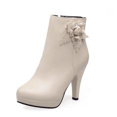 Женщины кожа Высокий тонкий каблук На каблуках Закрытый мыс Ботинки Полусапоги с цветы обувь (088071263)
