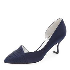 Женщины шелка как атласное Устойчивый каблук На каблуках с Рябь (047146122)