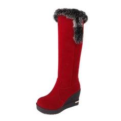 Camurça Plataforma Bota no joelho Botas de neve com Pele sapatos (088040765)