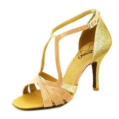 Женщины Мерцающая отделка На каблуках Сандалии Латино с пряжка Обувь для танцев (053046898)