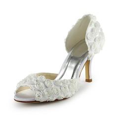 Kvinnor Stilettklack Peep Toe Sandaler med Satäng Blomma (047024506)