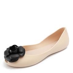 Kvinner PVC Flate sko Titte Tå med Blomst sko (086165224)