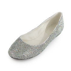 Patent Leather Flat Heel Flats Closed Toe With Rhinestone shoes (086026679)