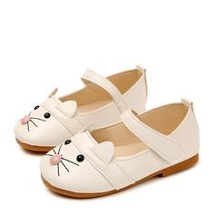Jentas Lukket Tå Leather flat Heel Flate sko Flower Girl Shoes med Velcro (207153579)