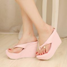 Женщины кожа Вид каблука Сандалии На каблуках Платформа Тапочки обувь (087125910)