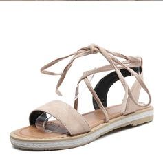 Женщины Замша Плоский каблук Сандалии На плокой подошве с Шнуровка обувь (087157106)