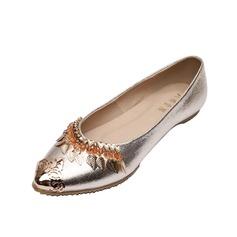 Kunstleder Flascher Absatz Flache Schuhe Geschlossene Zehe mit Pailletten Schuhe (086056682)