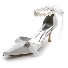 Vrouwen Satijn Spool Hak Closed Toe Pumps met Imitatie Parel Strass Ribbon Tie (047004903)