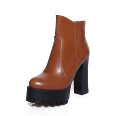 Женщины кожа Устойчивый каблук Полусапоги обувь (088074435)