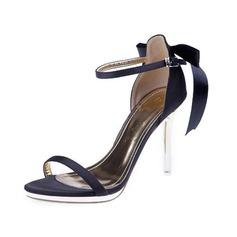 Женщины Атлас Высокий тонкий каблук Сандалии с бантом обувь (087050195)