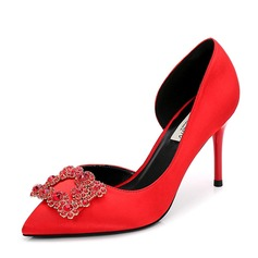 Women's Satin Stiletto Heel Pumps Closed Toe With Rhinestone shoes (085155242)
