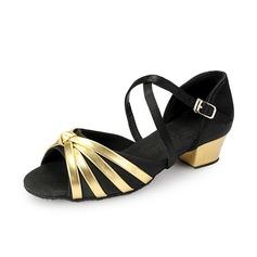 Детская обувь Атлас кожа На каблуках Сандалии Латино с Ремешок на щиколотке Обувь для танцев (053058457)