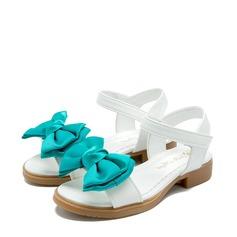 Jentas Titte Tå Leather flat Heel Sandaler Flate sko Flower Girl Shoes med Bowknot Velcro (207122026)