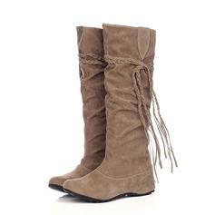 Camurça Salto baixo Bota no joelho sapatos (088059493)