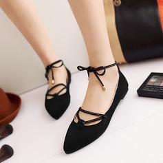 Женщины Замша Плоский каблук На плокой подошве Платформа с Шнуровка обувь (086145708)