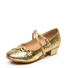 Детская обувь кожа На плокой подошве Бальные танцы с бантом пряжка блестками Обувь для танцев (053115130)