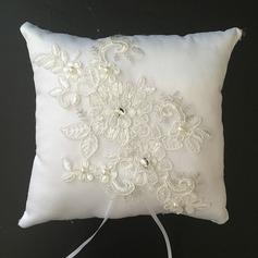 Цветочный дизайн Кольцо подушки в Атлас/Кружева с Стразы/Перлы ложный (103096230)
